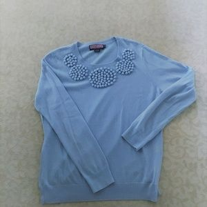 VINEYARD VINES BLUE COTTON SWEATER WITH POM POMS